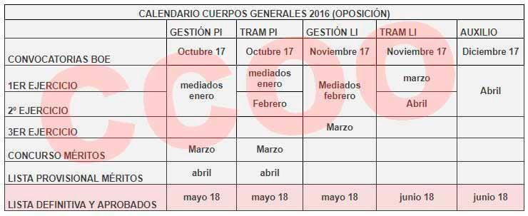 Calendario cuerpos generales 2016